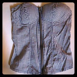 Full Tilt gingham zip up strapless top xs